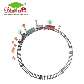 kids educational set 20 pcs plastic puzzle train track toy with road signs and trees