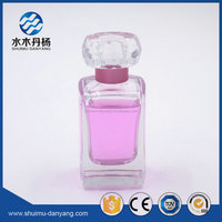 60ml square sprayer glass empty perfume bottle with decor cap