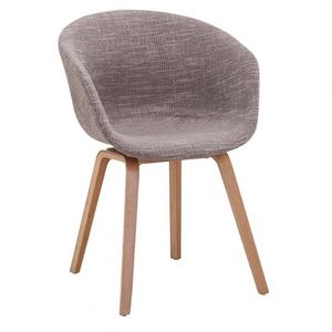 L-home manufacturer Wooden legs and fabric cushions leisure dining chair dining room furniture fabric chair with arms