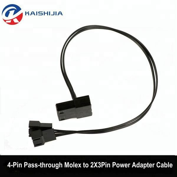 4Pin Pass-through Molex to 2X 3Pin 12V PC Case Fan Power Adapter Splitter Cable