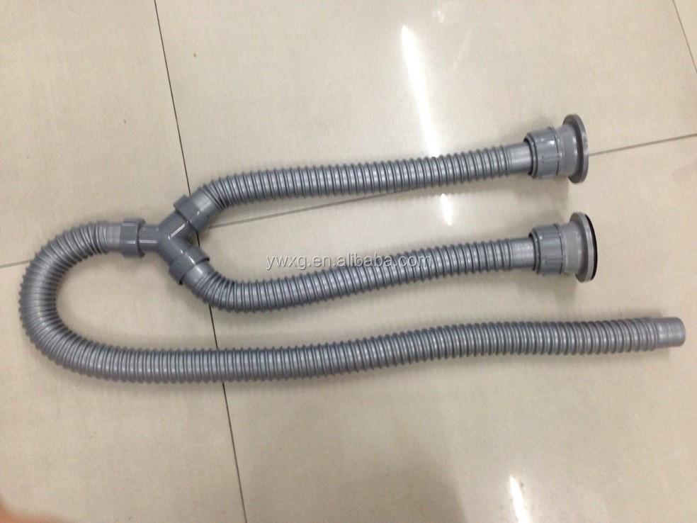 Kitchen Sink Drain Pipe Plastic Flexible Sewer Tube Wash