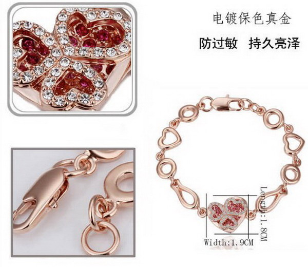 Newest rose gold plated heart bracelet earring necklace set