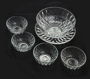 Haonai wholesale glass salad and fruit bowl and plate for microwave oven