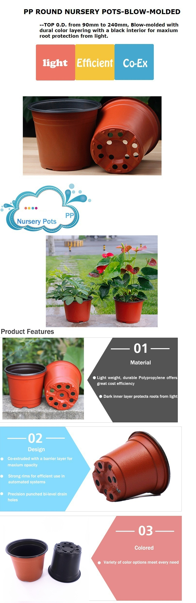 Hot sale plastic black round 6 inch blow molding plastic pot, plant nursery gardening pots for orchid