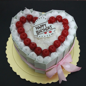 High Quality Heart Shaped Artificial Birthday Cake Model For Wedding