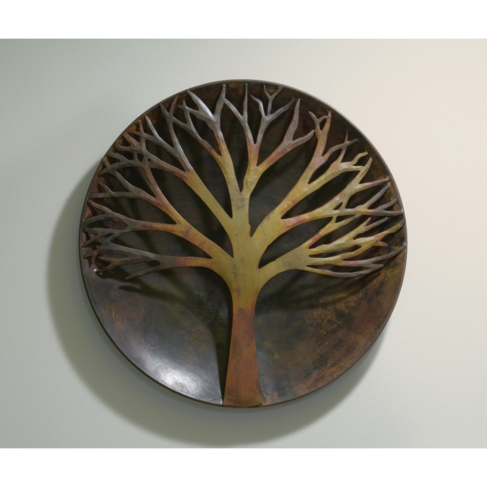 Ancient Graffiti 12 in. Raised Tree Flamed Wall Disc