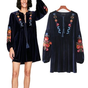 OEM ODM Clothing Fashion Woman 3/4 Sleeves Velvet Embroidered Floral Mini Dress