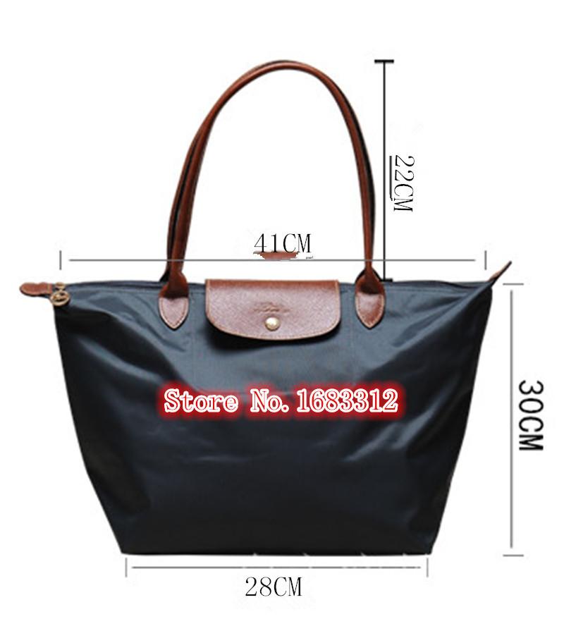 bce0538634 Get Quotations · French Women handbags M size long Nylon Genuine Leather  dumplings vintage Bag black Tote Shopping shoulder Bag