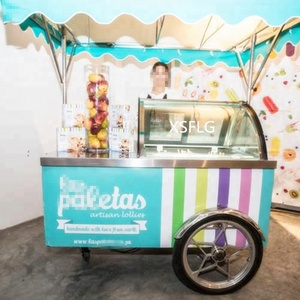 2018 Specifications Ice Cream Mobile Carts-Clear View of Gelato and Convenient Work Table
