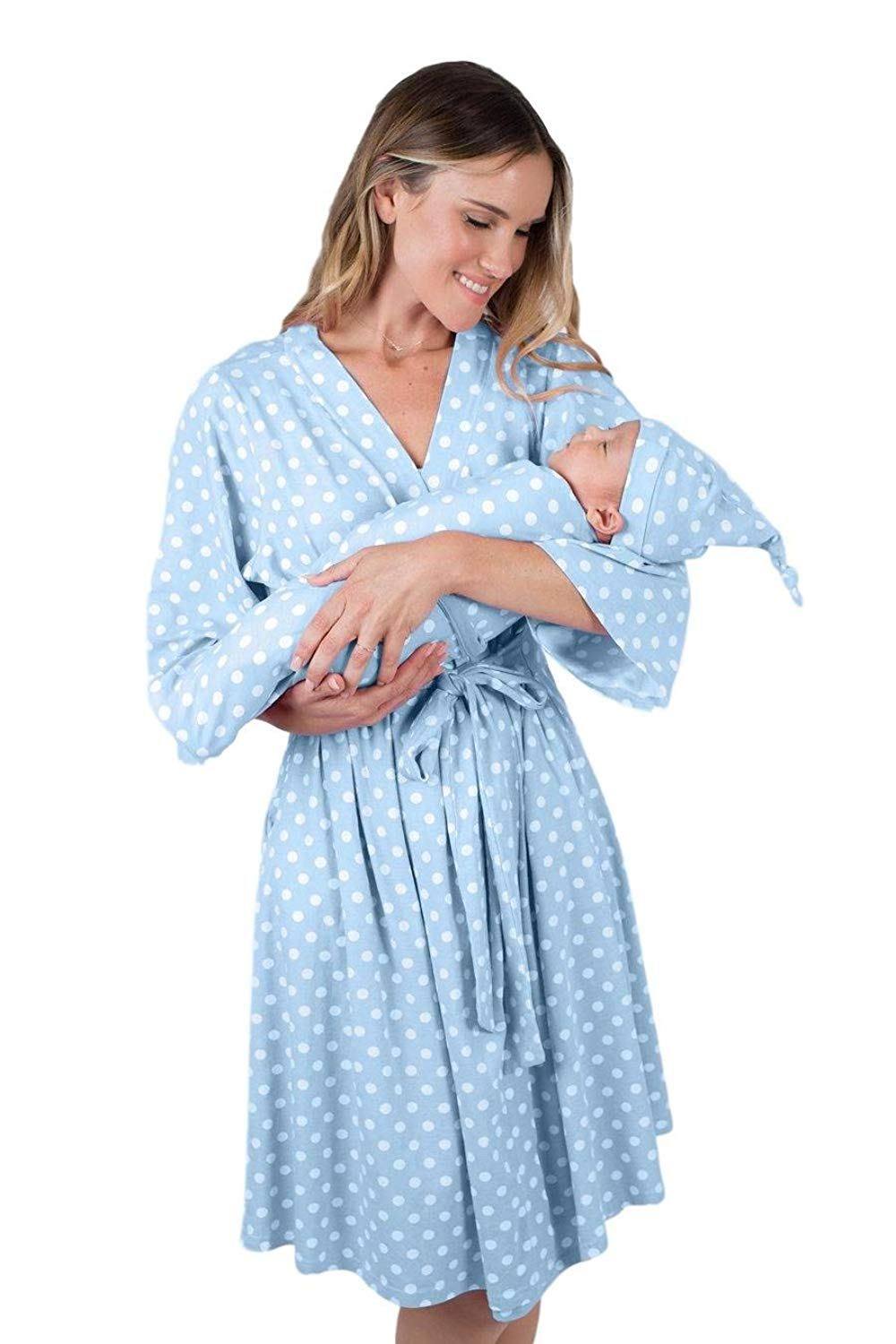faaca91853a2b Get Quotations · Matching Maternity/Delivery Robe Baby Swaddle Set, Mom Baby