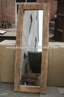 Chinese antique natural elm wood rustic style mirror