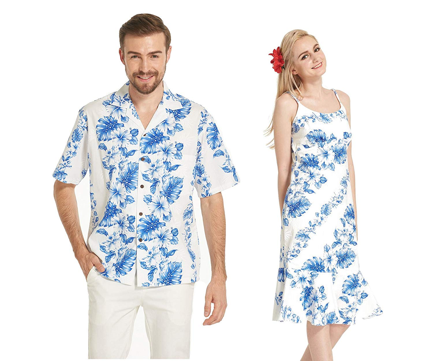a593ddab3f91 Get Quotations · Made in Hawaii Premium Couple Matching Luau Aloha Shirt  Dress Floral Blue Line Floral in White