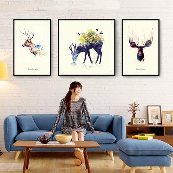 Rusa Cetak Digital Kanvas Bingkai Lukisan Dinding Gambar Seni Untuk Ruang Tamu Dekoratif