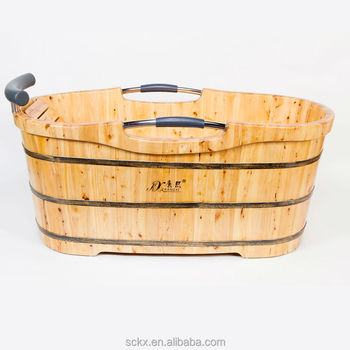 Quality Cheap Wooden Bathtub Price With Cushion Headrest For One Person
