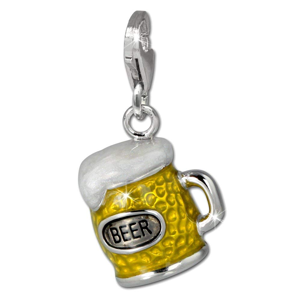 925 Sterling Silver Charm SilberDream beer mug white and yellow enameled 925 Sterling Silver FC860Y