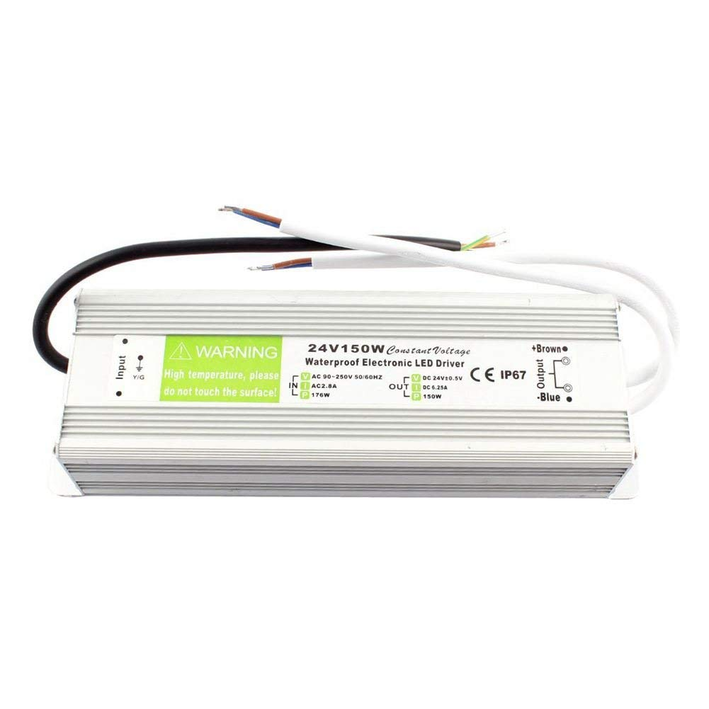 SODIAL(R) AC 90~250V to DC 24V 150W Transformer IP67 Waterproof LED Driver Power Supply Silver