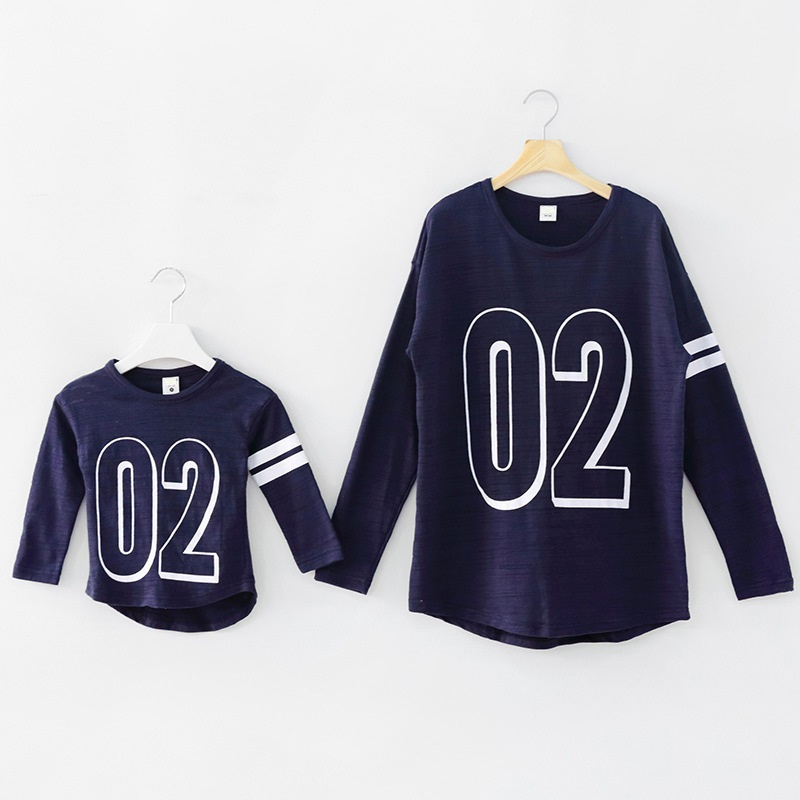 Casual Family Set Long Sleeve T shirt Clothing Clothes for Mother and Daughter Family Clothing Long Sleeve Clothes 2 Colors NS36