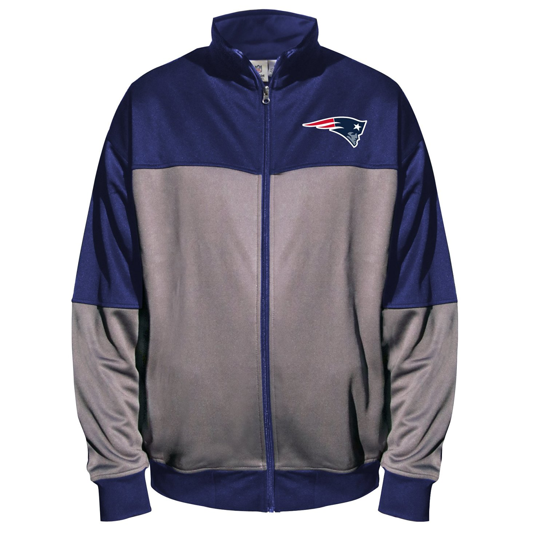 NFL New England Patriots Unisex Poly fleece Track Jacket, CHARCOAL/Navy, 6X