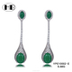 Hot Sale Fashion Women Girls Style Natural Big Emerald Stone Earrings With Inlaying Diamond