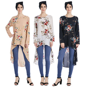 2017 abaya tunics fashion muslim blouse ,Women Flower printed muslim tops,Singapore trendy Islamic Blouse
