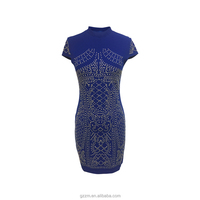 Z&M Fashion Collection Polyester Spandex Women Smart Casual Fancy Cap Sleeve Royal Blue Color Bandage Dress with Gold Beads