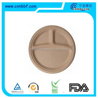 9''/10'' 3 compartments tray wheat straw plates