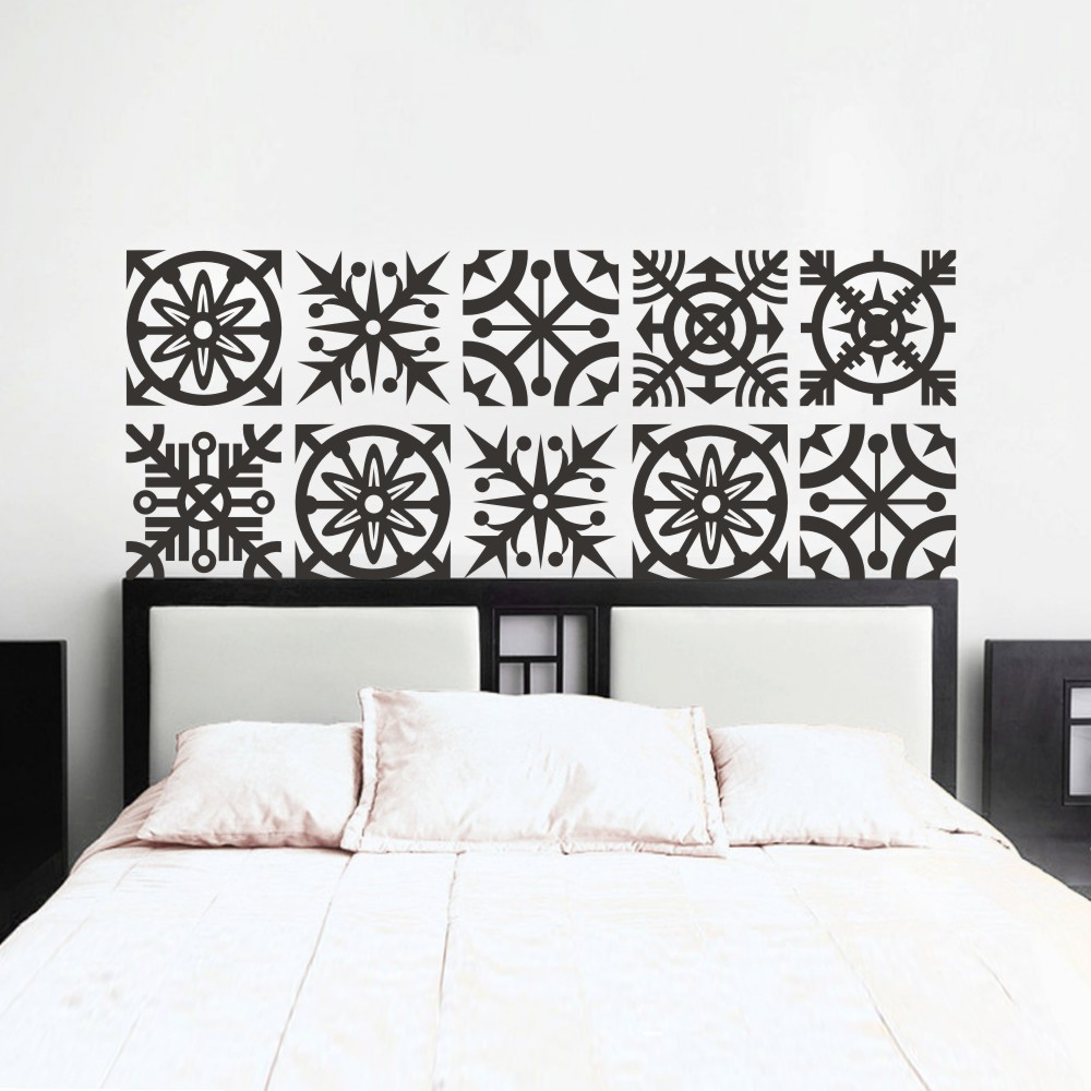 headboard wall decal geometric dorm decor shabby chic star snowflake bedroom vinyl sticker mural. Black Bedroom Furniture Sets. Home Design Ideas