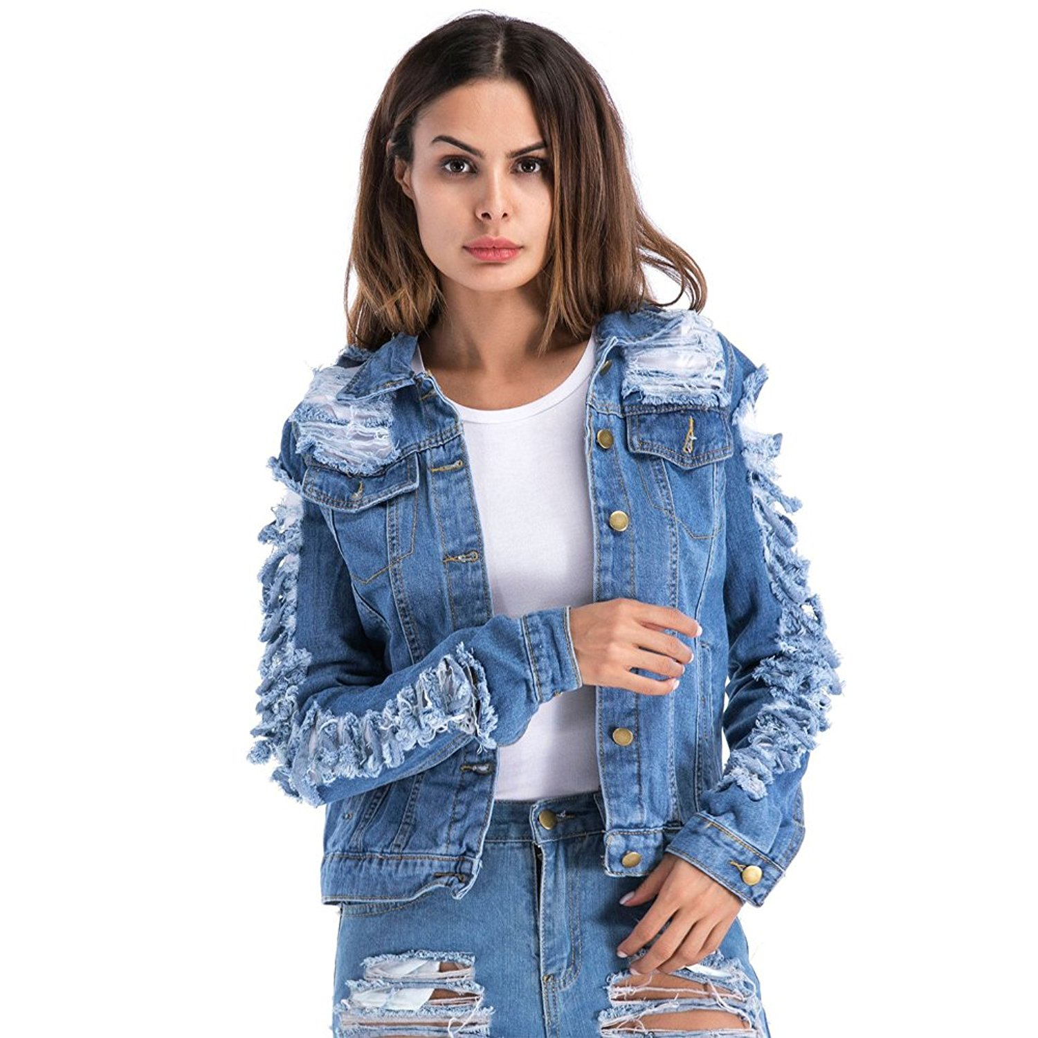 326c6098763 Get Quotations · VICVIK Womens Blue Distressed Button Long Sleeve Denim  Jean Jacket Coat with Pockets Regular and Plus