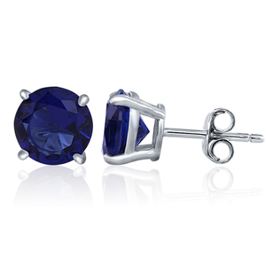 POLIVA White Gold Plated 925 Silver Blue Sapphire Single Stone Earring Designs Jewe;ry CZ Stud Earrings