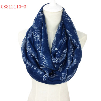 Spring fashionable 100% viscose infinity style music note scarf wholesale