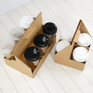 Disposable cardboard cup holders,coffee paper cup holder with handle,paper cup holder