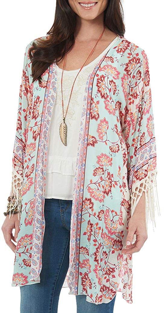 6bfb245a2 Get Quotations · Democracy Womens Floral Paisley Crochet Trim Kimono One  Size Blue/red/Beige