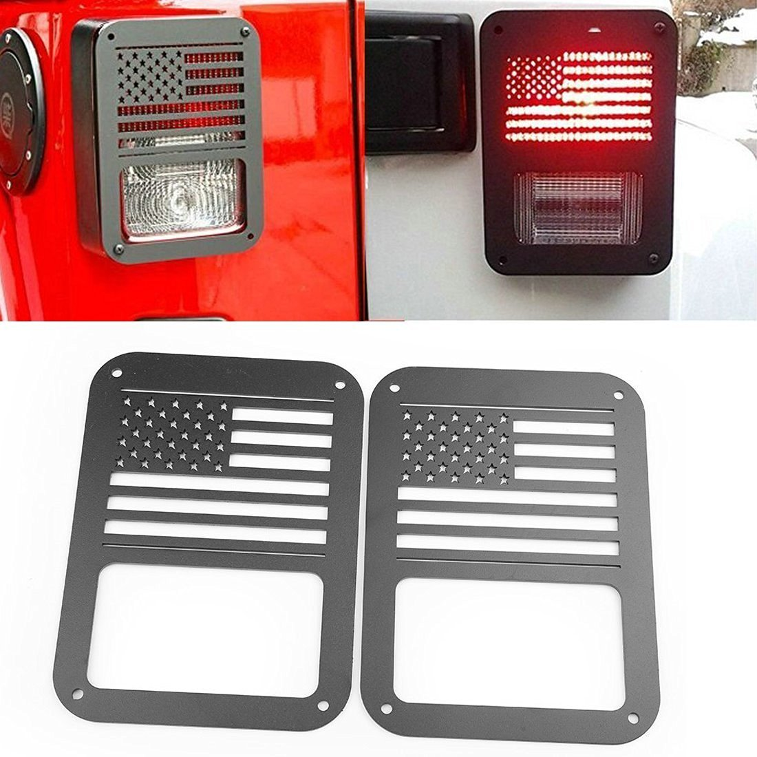 Black Star Yoursme Tail Lamp Guard Black Taillight Rear Light Trim Cover Protector for 2007 2008 2009 2010 2011 2012 2013 2014 2015 2016 2017 Jeep Wrangler Accessories JK Unlimited Pair