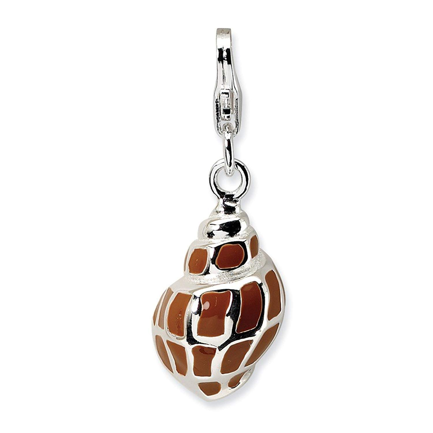 Jewelry Best Seller Sterling Silver 3-D Enameled Shell w/Lobster Clasp Charm