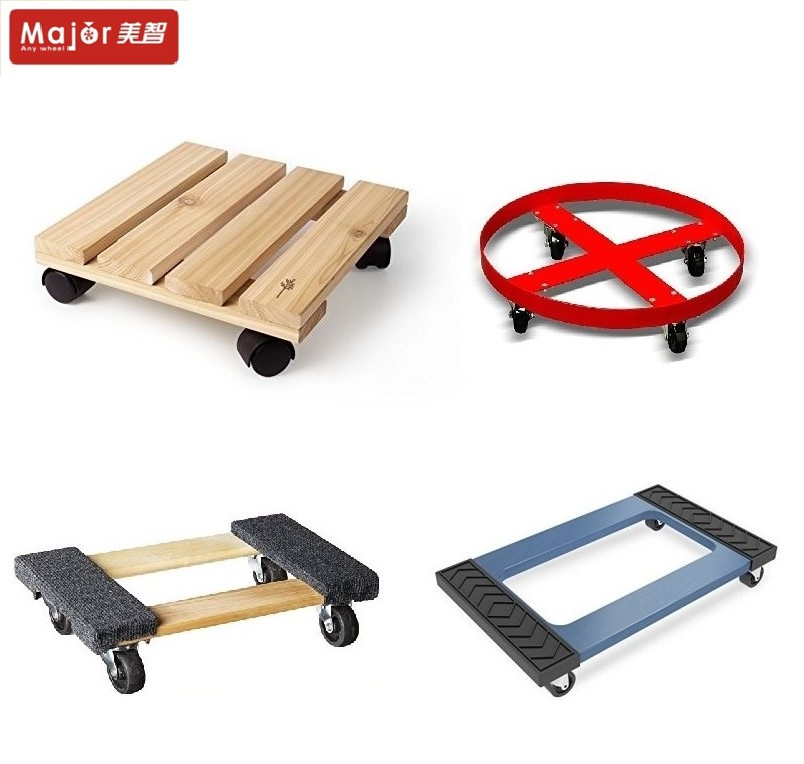 Four-wheel moving pallet dolly with rubber carpet