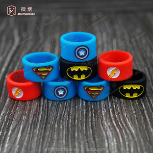 Width 12mm Superman/Spider-Man/Flash factory Price Vapor Mod ecig Accessories Colorful Vape Band silicone e cigarette band