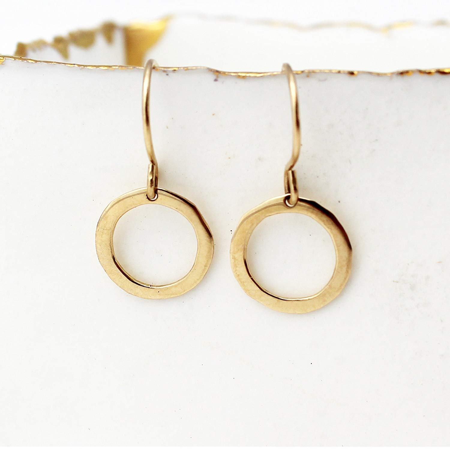 f57eace3332fe5 Get Quotations · 14k Solid Gold Hoop Earrings. Small Solid Gold Hoops in 14k  Yellow, Rose or