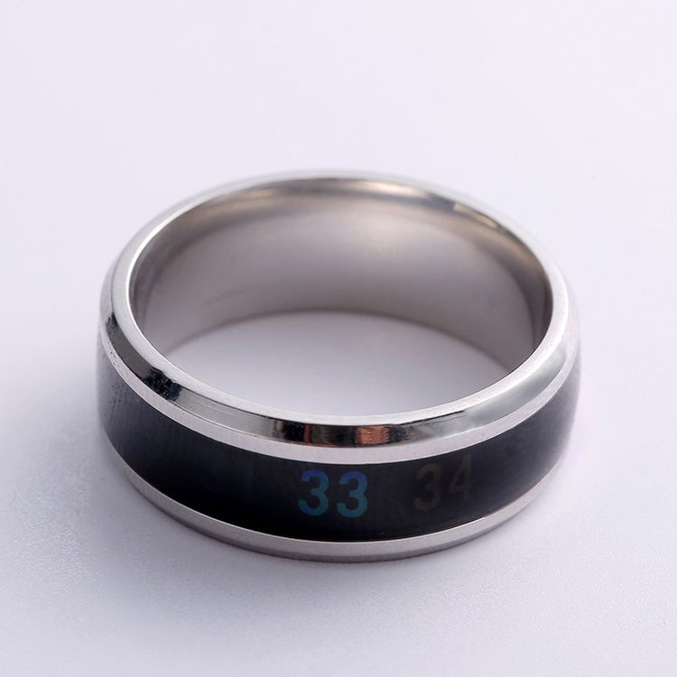 2019 Intelligent Temperature Display Changing With Temperature Stainless Steel Titanium Ring For Men