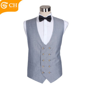 Fashion Grey Double Breasted U Cotton Waistcoat for Men Novelty