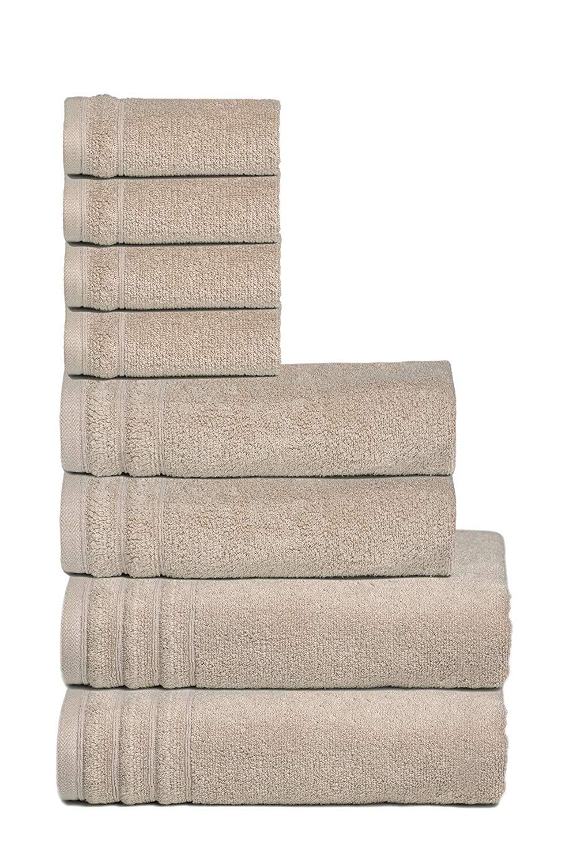 Glamburg Super Soft Zero Twist 8 Piece Towel Set - 100% Cotton - Luxurious, Fluffy, and Absorbent, Contains 2 Oversized Bath Towels 30x54, 2 Hand Towels 16x28, 4 Wash Cloths 13x13 - Beige