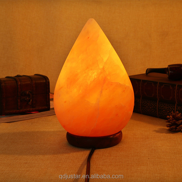 Natural Himalayan Hand Carved Crystal Salt Lamp with Wood Base