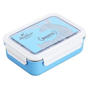 Hot Pot 304 stainless steel Lunch Box Metal Rectangular Steel Bento Box with Dividers Compartment plastic food container