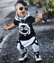 2016 Summer Baby babe boy clothing sets short sleeved letter cotton T shirt top pants baby