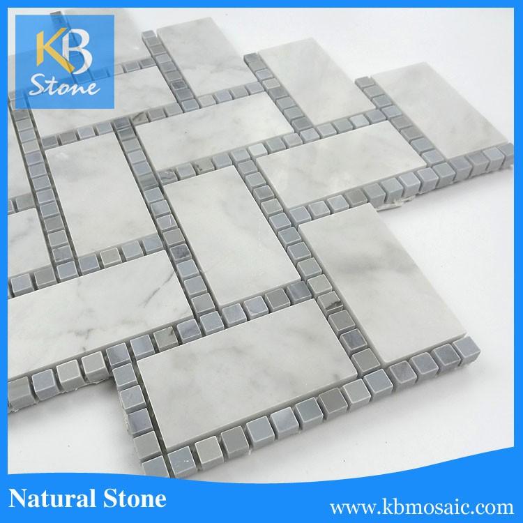 Nuevo diseño blanco Carrara espiga con Dot mármol mosaico para ...