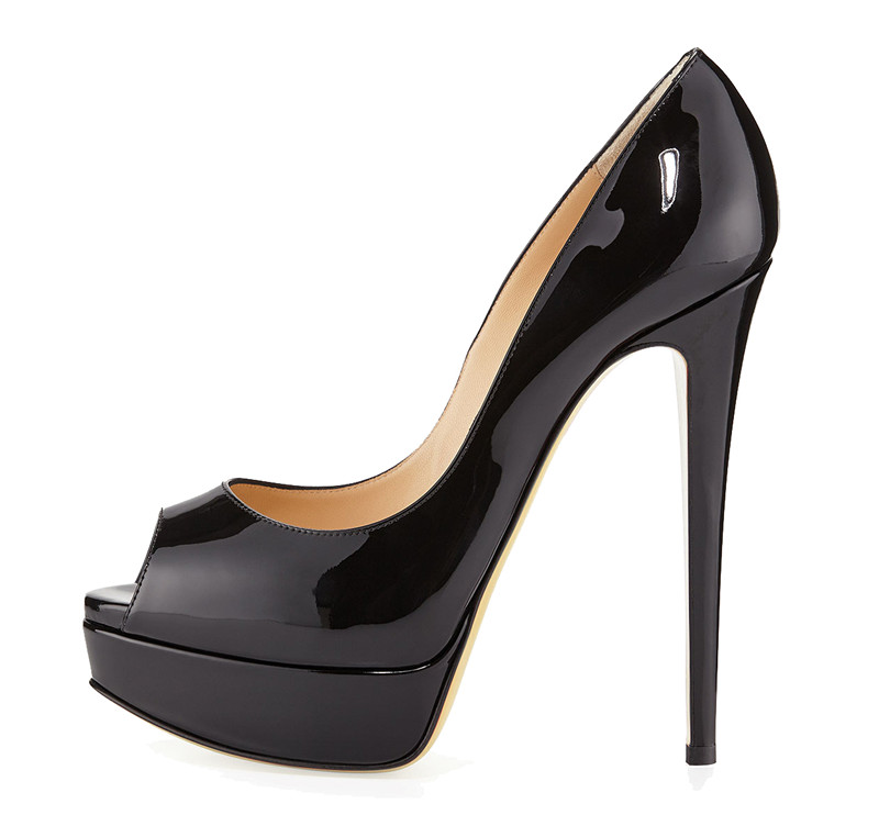 Low MOQ Black patent leather shoes 6 inches sexy high heels women 2017  stilletoes high heels
