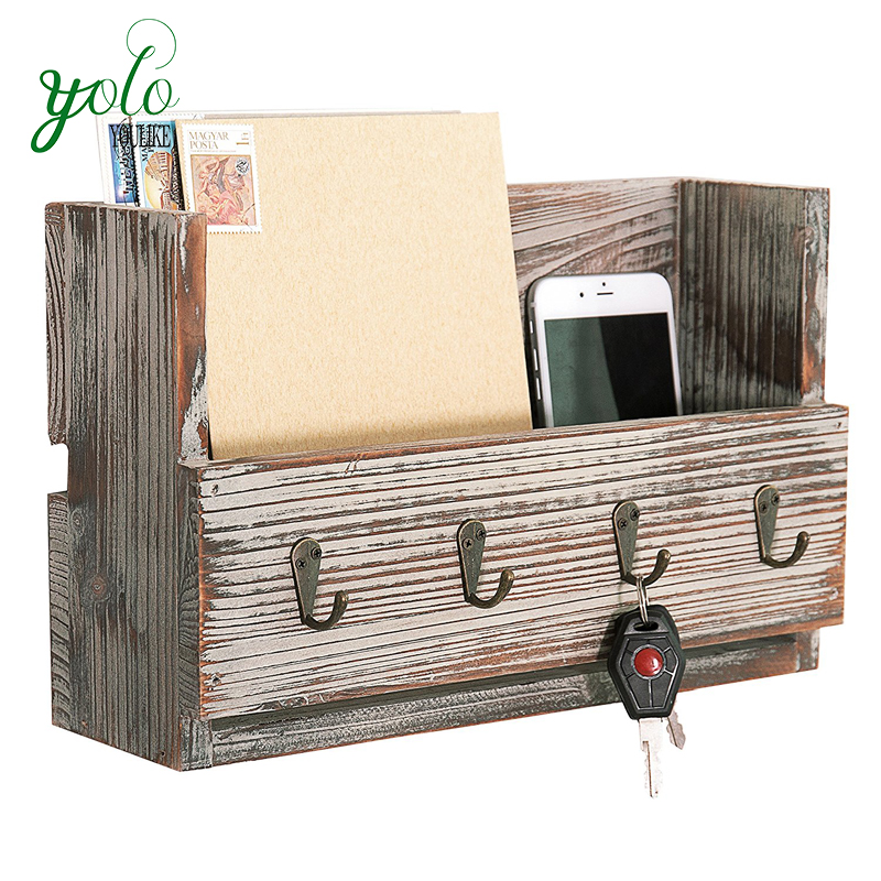 Rustic Torched Wood Storage Organizer Wall Mounted Mail Holder with 4 Key Ring Hooks