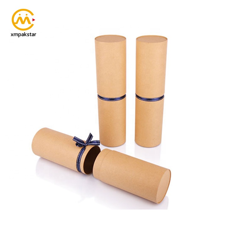 Wholesale custom logo printed push up cardboard packaging paper tube for wine bottle