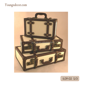 Decorative Wooden Luggage Suitcase Storage Trunk Sets With PU Faux Leather  Covered