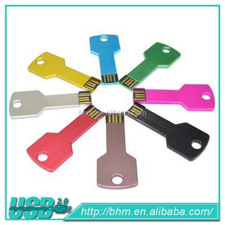 Colorful Key Shape usb flash drive Metal Usb Flash pen Drive 1gb,2gb,4gb,8gb promotional gift