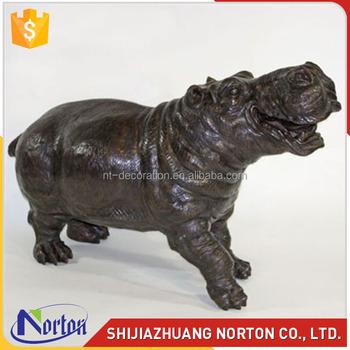 Life size black bronze hippo sculpture for river decoration NTBH-045LI